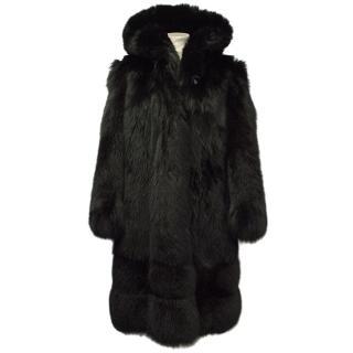 Black Arctic Fox Fur Hooded Coat