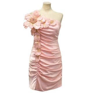 Forever Unique Pink Dress with Gold Applique Flower