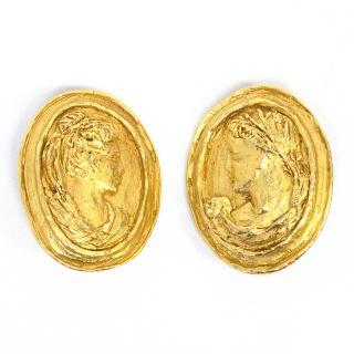 Vintage Christian Lacroix Greek Roman Clip-On Earrings