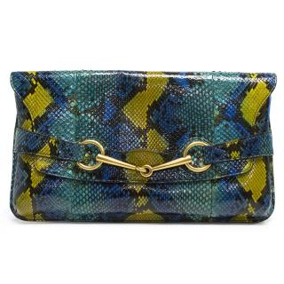 Gucci Exotic Python Large Blue Clutch