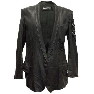 Balmain Black Leather Blazer/Jacket