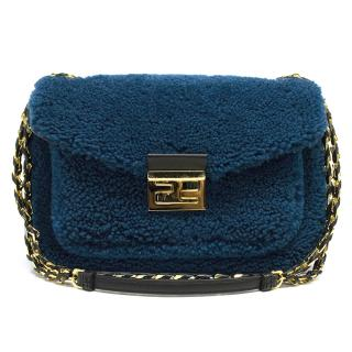 Fendi Blue Be Baguette Mini shearling bag
