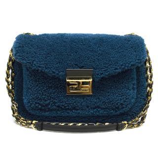 Fendi Blue Be Baguette Mini shearling bag