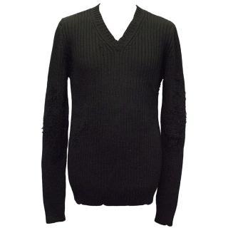 Dolce & Gabbana Black Wool-Blend V-Neck Distressed Jumper