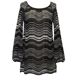 M Missoni Black & White Cotton-Blend Knitted Top