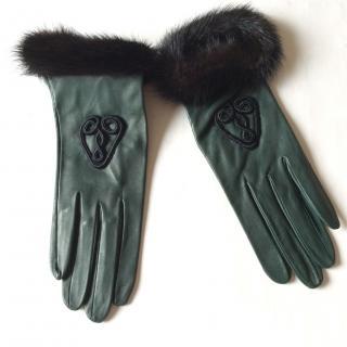 Rachel Ge Paris green leather gloves with mink fur trim