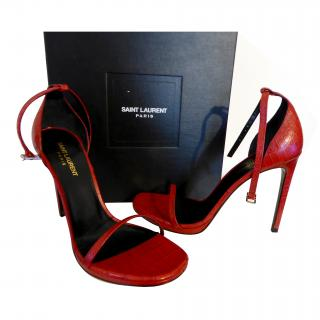 Saint Laurent Jane Ankle Strap Croc Embossed Sandal Heel YSL EU39.5 UK