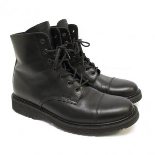 Prada Black Leather Lace-Up Boots