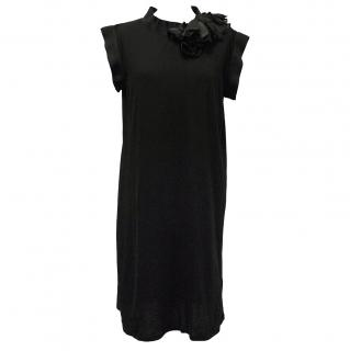 Lanvin Black Rosette-Embellished Cotton Jersey Dress