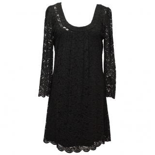 Diane von Furstenberg Black Long-Sleeve Lace Dress