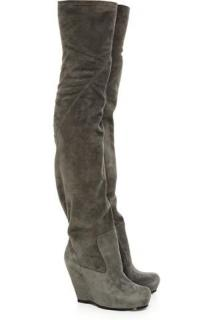 Rick Owens Grey Thigh High Wedge Boots
