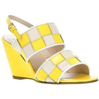 Opening Cermony Woven Yellow Nude Leather Wedge Sandals