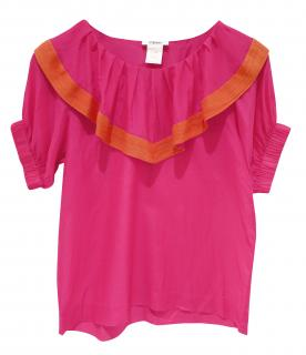 Sonia by Sonia Rykiel Fuschia Pink Silk Nautical Blouse Top