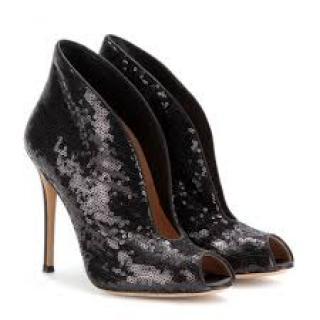 Gianvito Rossi's black sequin open toe booties
