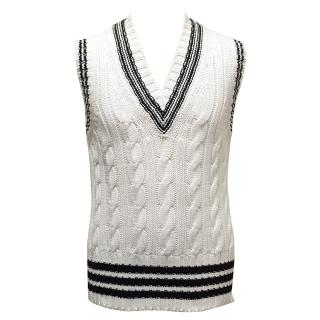 Brooks Brothers White and Black Knit Vest