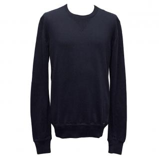 Dolce & Gabbana Navy Blue Cotton Crewneck