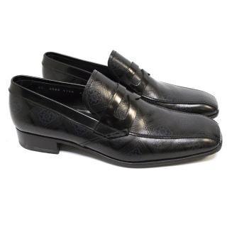 Prada Black & Blue Pattern Leather Loafers
