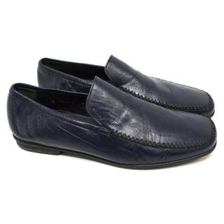 Dolce & Gabbana Blue Leather Loafers