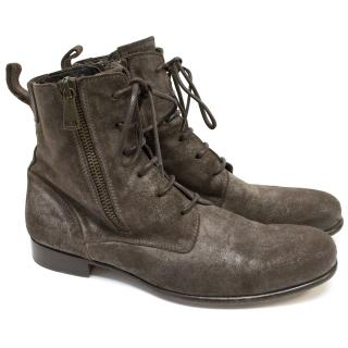 Dolce & Gabbana Brown Suede Lace-Up Ankle Boots