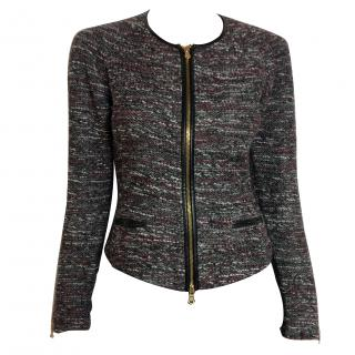 Club Monaco tweed jersey motor jacket