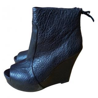 Joe's Black Leather Wedges