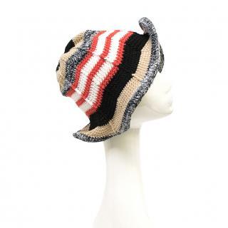 Missoni Crotchet Red, Tan, Black Knit Sun Hat