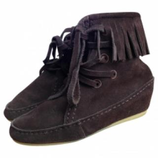 Maje suede fringed boots