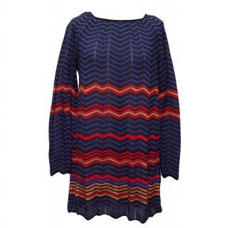 M Missoni Red, Black & Blue Striped Knit Tunic