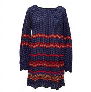 M Missoni Red, Black & Blue Striped Knit Tunic