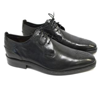 Cole Haan Black Leather Brogues with Wingtip Stitching