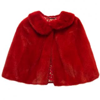 Dolce & Gabbana Red Mink Fur Poncho with Lace Detail