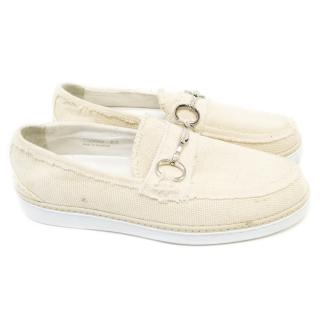 Dolce and Gabbana Cream and White Canvas Shoes