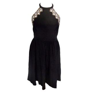 Issa halterneck beaded low back party dress