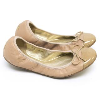 Jimmy Choo Beige Leather Elasticated Ballerinas