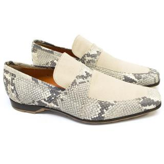 Etro Beige Snake Print Loafers