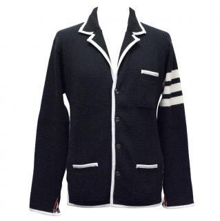 Thom Browne Navy Cashmere Cardigan with TB stripe