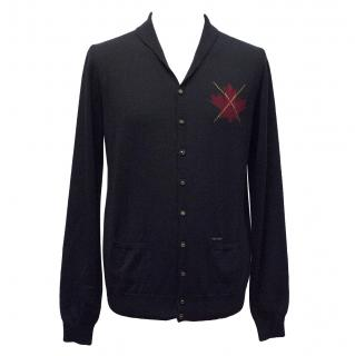 DSquared Blue Cardigan with Maple Leaf