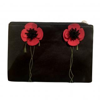 Lulu Guinness. Black Satin Poppy Embroidered Clutch.