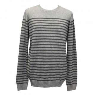 A.P.C Black and Grey Striped Jumper