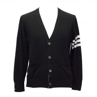 Thom Browne Black Cashmere Cardigan with TB stripe