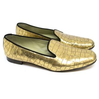 Penelope Chilvers Gold Croc Loafers