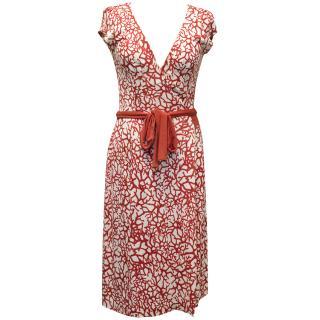 Diane von Furstenberg White & Red Coral Print Dress