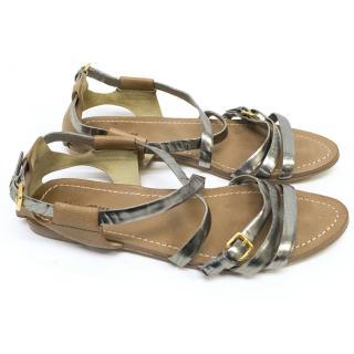 Miu Miu Tan and Silver Strapped Flat Sandals