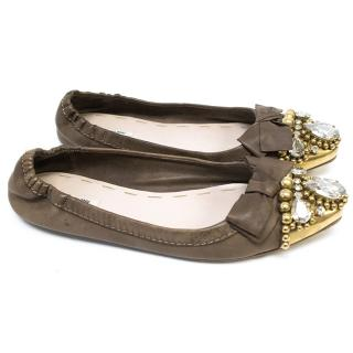 Miu Miu Tan Flated Pointed Flats with Jewelled Toes