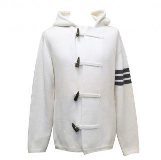 Thom Browne Toggle Cream Cashmere Hoodie with Grey Arm Stripe