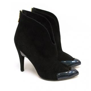 Mechante Of London Black Suede and Patent Ankle Boots