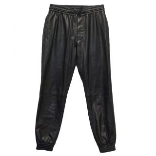 Club Monaco Black Calf Leather Trousers