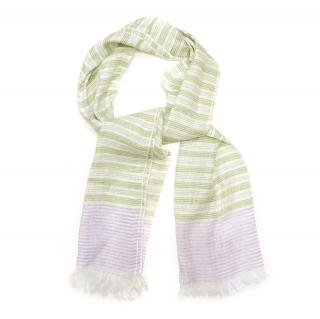 Richard James Purple and Green Linen Scarf