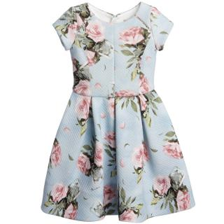 Monnalisa Pale Blue Pink Floral Neoprene Dress