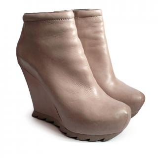 Camilla Skovgaard Taupe Leather Saw Wedge Boot 39